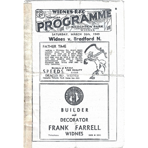 Widnes Home Rugby League Programmes