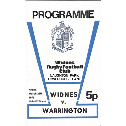 1974/75 Widnes v Warrington Rugby League programme