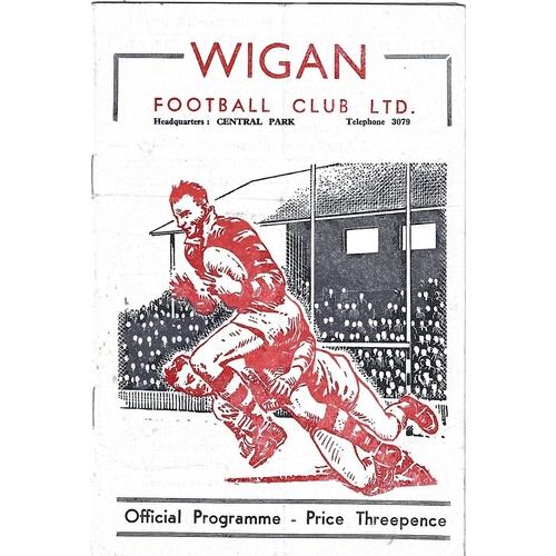 1958/59 Wigan v Wakefield Trinity Rugby League programme