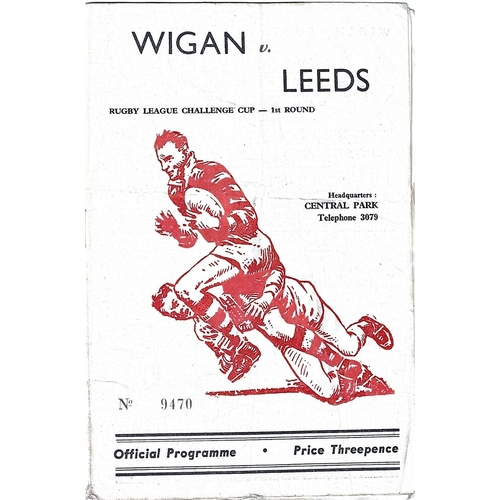 1958/59 Wigan v Leeds Challenge Cup 1st Round Rugby League programme