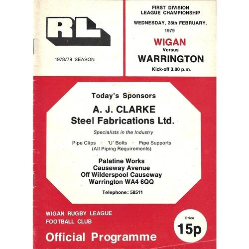 1978/79 Wigan v Warrington Rugby League programme