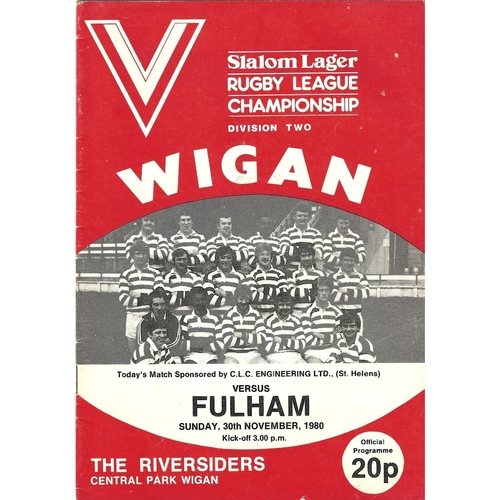 1980/81 Wigan v Fulham Rugby League programme