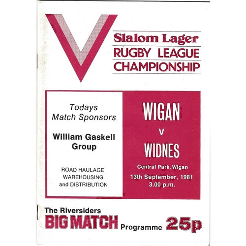 1981/82 Wigan v Widnes Rugby League programme