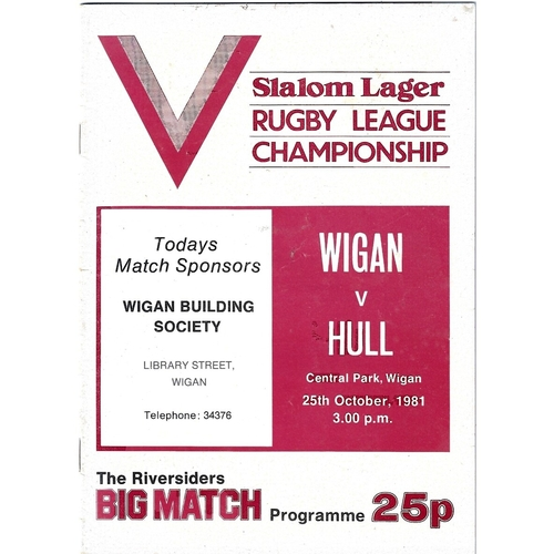 1981/82 Wigan v Hull Rugby League programme