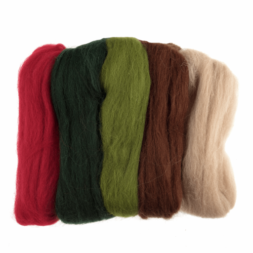Natural Wool Roving 50gm -  Assorted Christmas