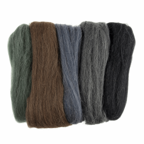 Natural Wool Roving 50gm -  Assorted Melange