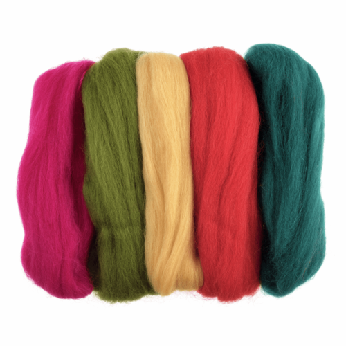 Natural Wool Roving 50gm -  Assorted Brights