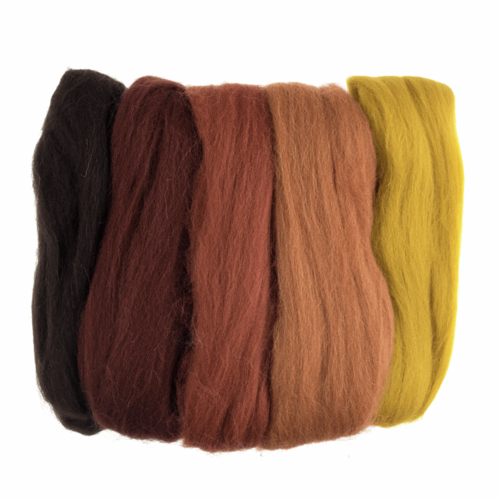 Natural Wool Roving 50gm -  Assorted Autumn