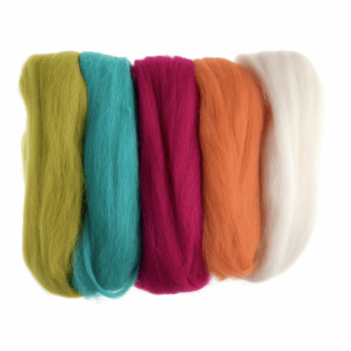 Natural Wool Roving 50gm -  Assorted Neon Brights