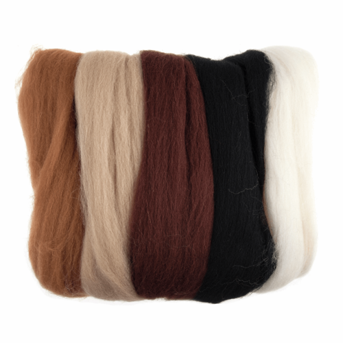 Natural Wool Roving 50gm -  Assorted Browns