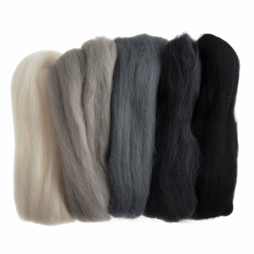 Natural Wool Roving 50gm -  Assorted Monochrome