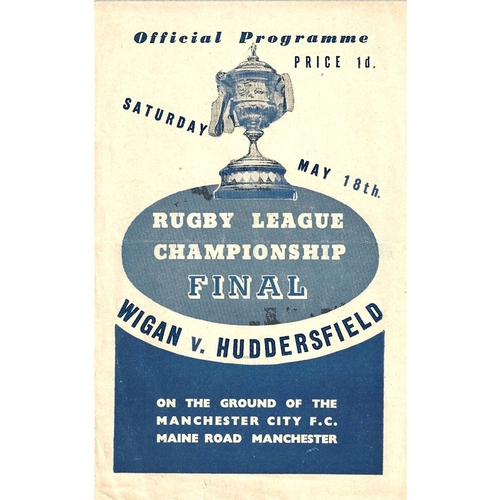 1945 Wigan v Huddersfield Rugby League Championship Final programme
