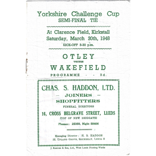 1948 Otley v Wakefield Yorkshire Challenge Cup Semi Final Rugby League programme