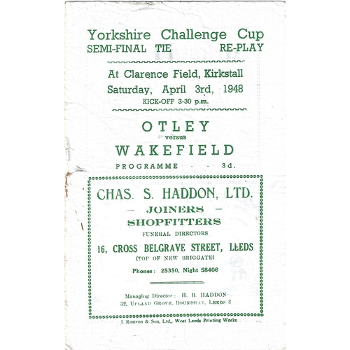 1948 Otley v Wakefield Yorkshire Challenge Cup Semi Final Replay Rugby League programme