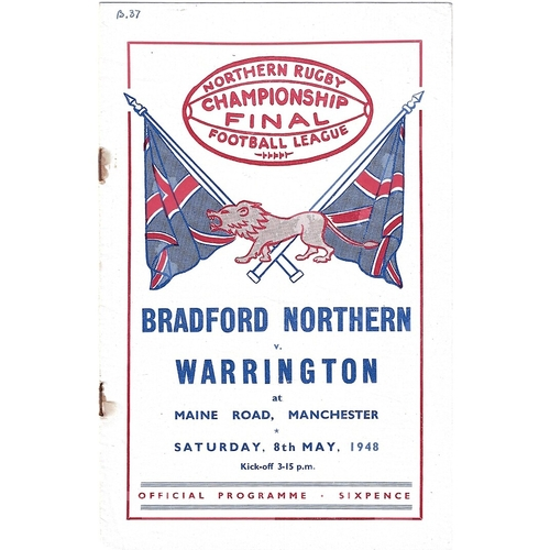 1948 Bradford Northern v Warrington Championship Final Rugby League programme