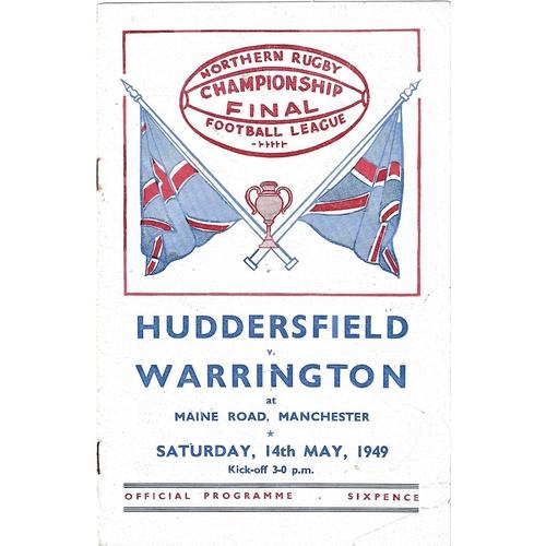 1949 Huddersfield v Warrington Championship Final Rugby League programme