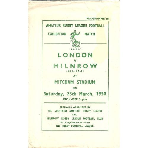 1949/50 London v Milnrow Rugby League Exhibition Match programme