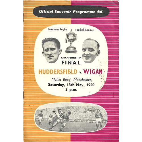 1950 Huddersfield v Wigan Championship Final Rugby League programme