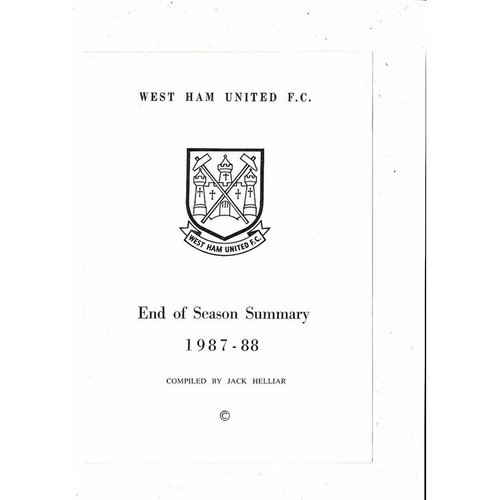 West Ham United End of Season Summary 1987/88
