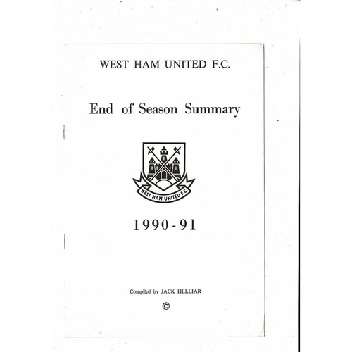West Ham United End of Season Summary 1990/91