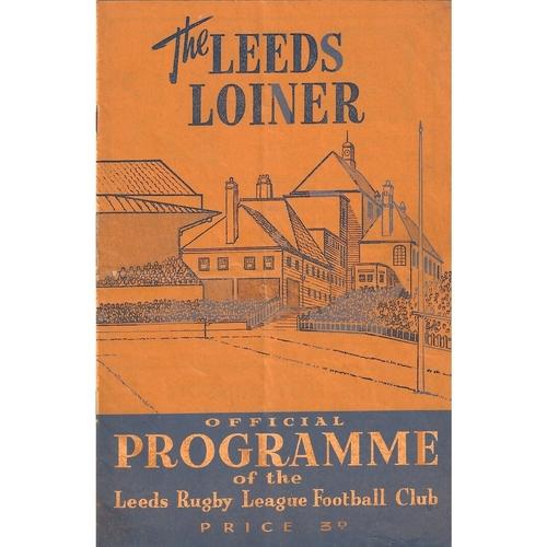 1958/59 Leeds v Hunslet Rugby League programme