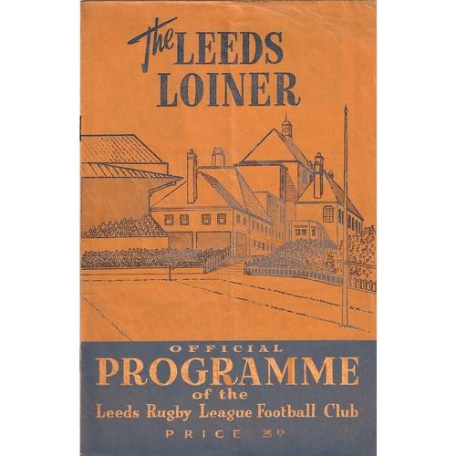 1958/59 Leeds v Workington Town Rugby League programme