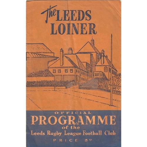 1958/59 Leeds v Australia Rugby League Tour Match programme