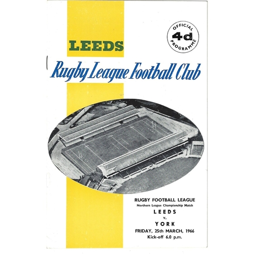York/Ryedale York/York Wasps Away Rugby League Programmes