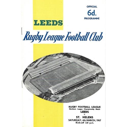 1966/67 Leeds v St. Helens Rugby League programme
