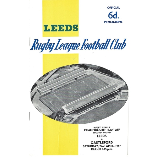 1966/67 Leeds v Castleford Championship Play-Off 2nd Round Rugby League programme