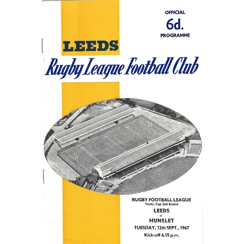 1967/68 Leeds v Hunslet Yorkshire Cup 2nd Round Rugby League programme