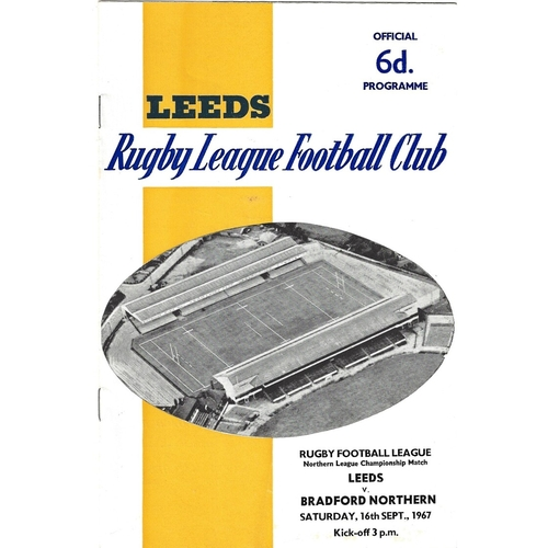 1967/68 Leeds v Bradford Northern Rugby League programme