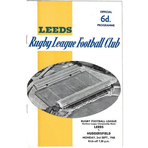 1968/69 Leeds v Huddersfield Rugby League programme