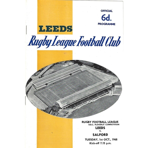 1968/69 Leeds v Salford BBC Floodlight Competition Rugby League programme