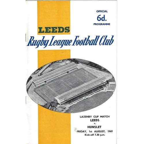 1969/70 Leeds v Hunslet Lazenby Cup Rugby League programme