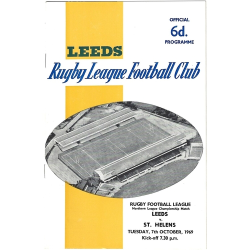 1969/70 Leeds v St. Helens Rugby League programme