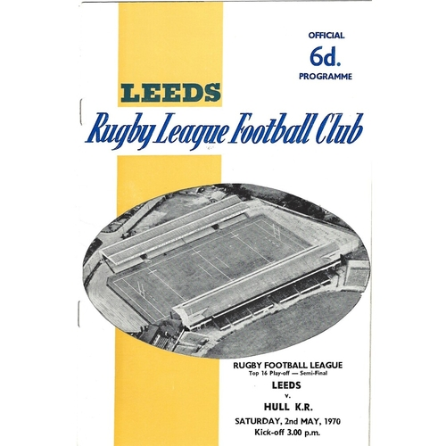 1969/70 Leeds v Hull Kingston Rovers Top 16 Play-Off Semi Final Rugby League programme