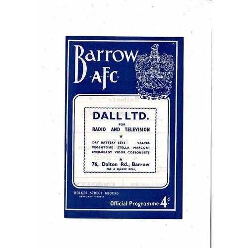 1961/62 Barrow v Gillingham Football Programme