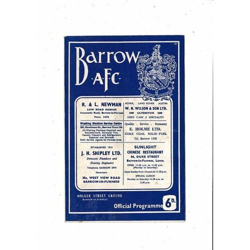 1965/66 Barrow v Newport County Football Programme