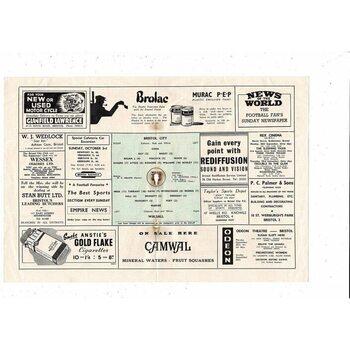 1954/55 Bristol City v Walsall Football Programme