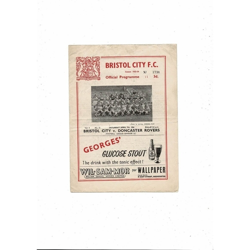 1955/56 Bristol City v Doncaster Rovers Football Programme