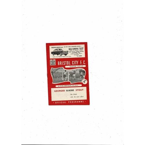 1959/60 Bristol City v Aston Villa Football Programme