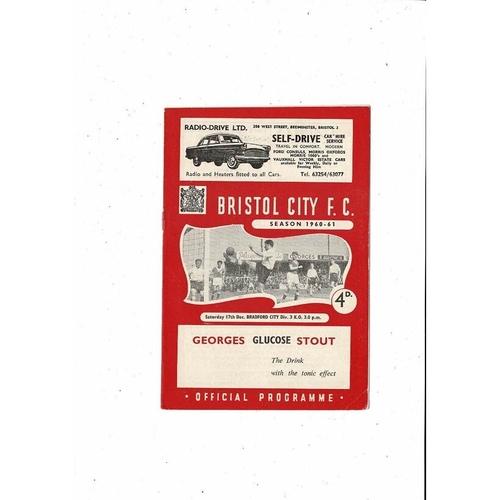 1960/61 Bristol City v Bradford City Football Programme
