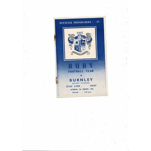 1955/56 Bury v Burnley FA Cup Football Programme Jan 7th