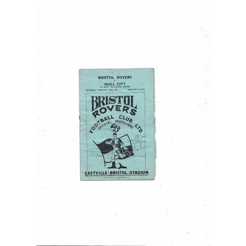 1950/51 Bristol Rovers v Hull City FA Cup Football Programme