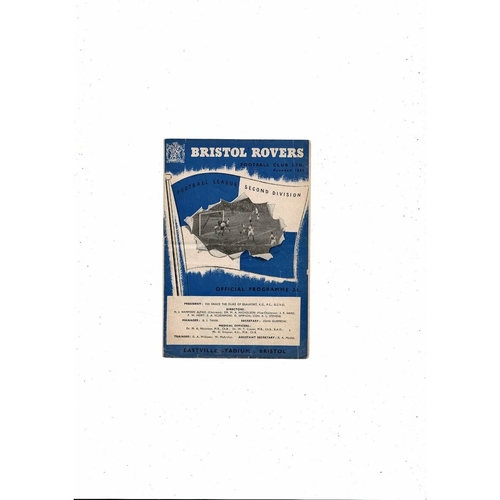 1953/54 Bristol Rovers v Doncaster Rovers Football Programme