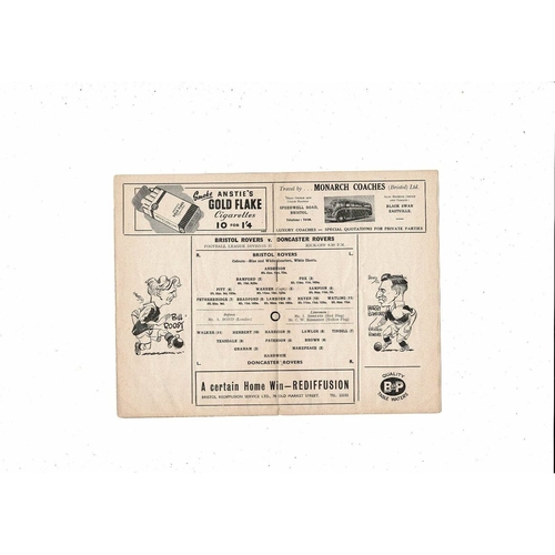 1954/55 Bristol Rovers v Doncaster Rovers Football Programme