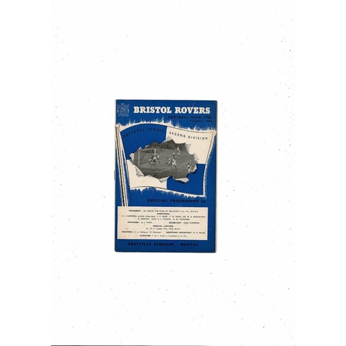 1959/60 Bristol Rovers v Doncaster Rovers FA Cup Football Programme