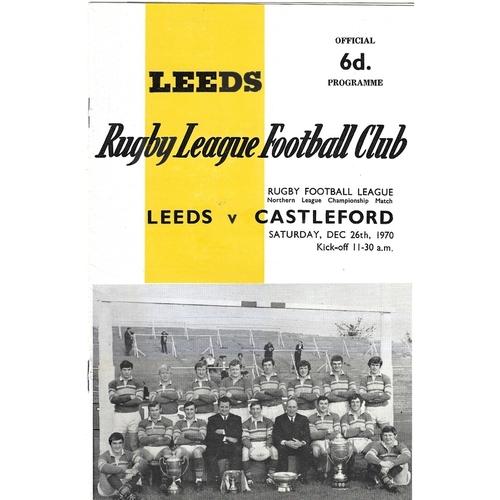 1970/71 Leeds v Castleford Rugby League programme