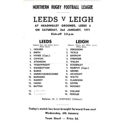 1970/71 Leeds v Leigh Rugby League programme/team sheet